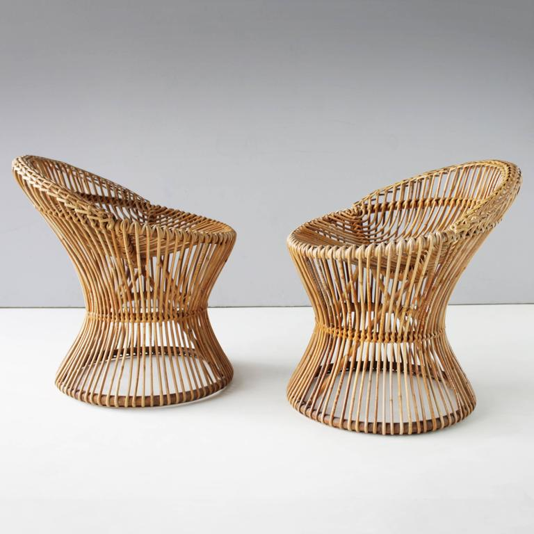 Pair of Rattan Italian Chairs Attributed to Franco Albini For Sale 5