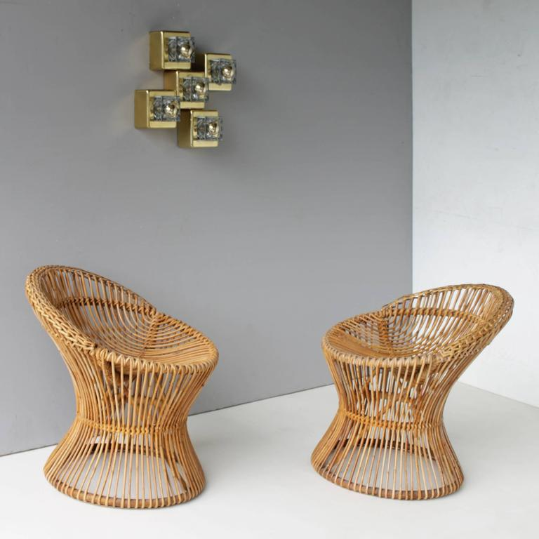 Mid-Century Modern Pair of Rattan Italian Chairs Attributed to Franco Albini For Sale