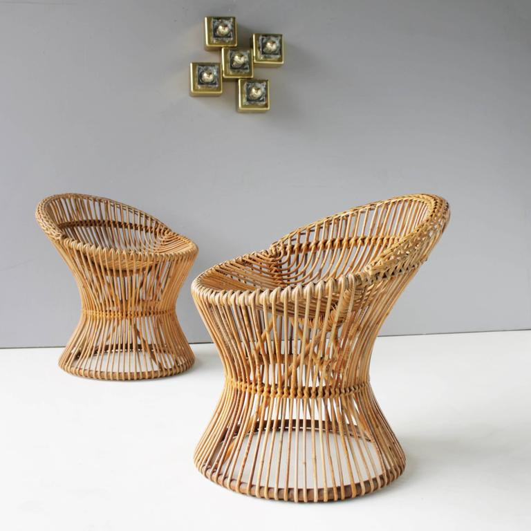Pair of Rattan Italian Chairs Attributed to Franco Albini In Excellent Condition For Sale In JM Haarlem, NL