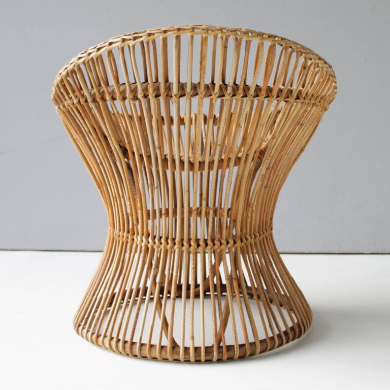 Mid-20th Century Pair of Rattan Italian Chairs Attributed to Franco Albini For Sale