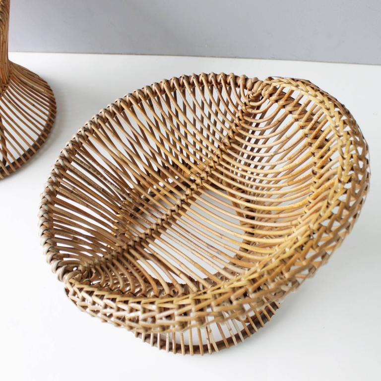 Pair of Rattan Italian Chairs Attributed to Franco Albini For Sale 1