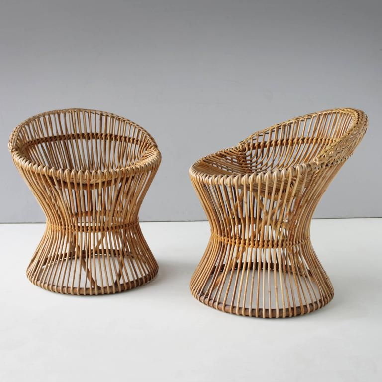 Pair of Rattan Italian Chairs Attributed to Franco Albini For Sale 4
