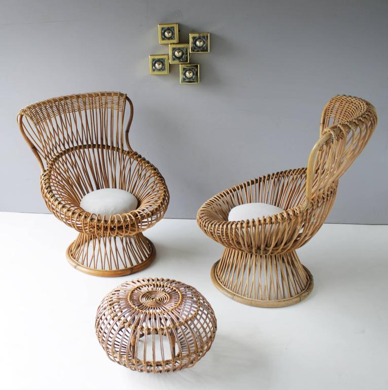 Pair of Margherita's and Ottoman by Franco Albini for Bonacina 3