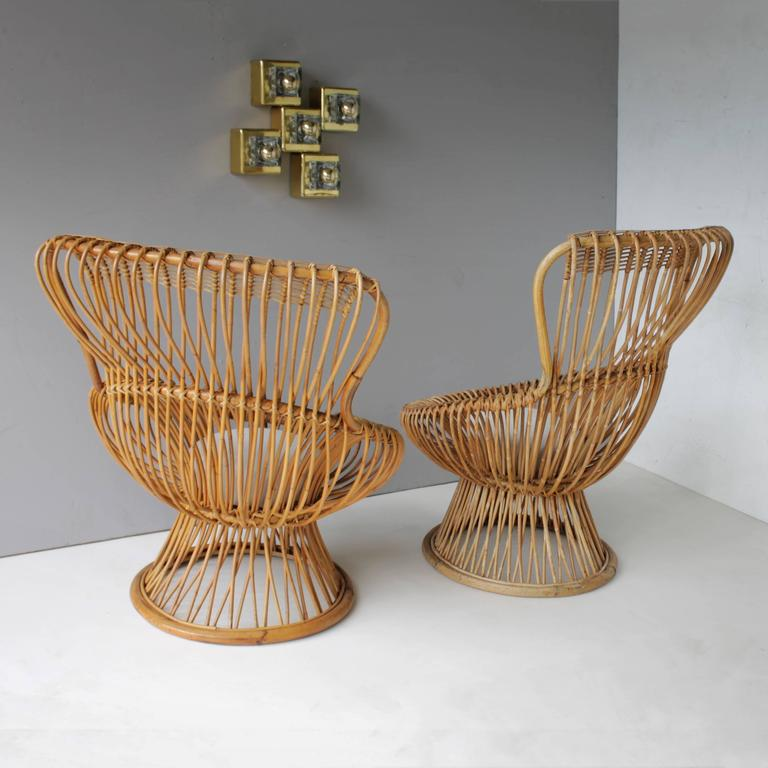 Pair of Margherita's and Ottoman by Franco Albini for Bonacina 4