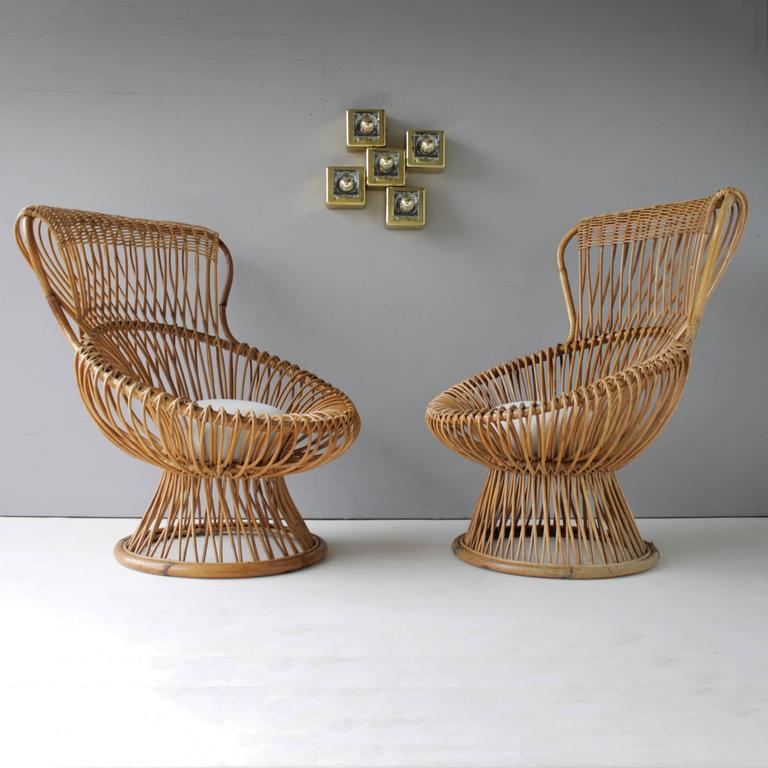 Pair of Margherita's and Ottoman by Franco Albini for Bonacina 5