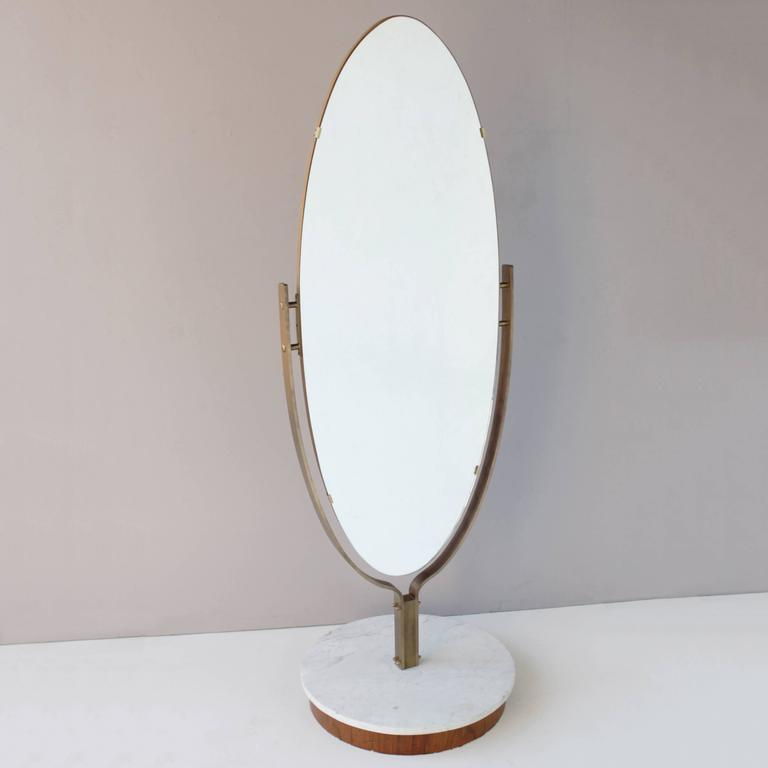 Oval Dressing Mirror Brass Frame On Marble Base At 1stdibs