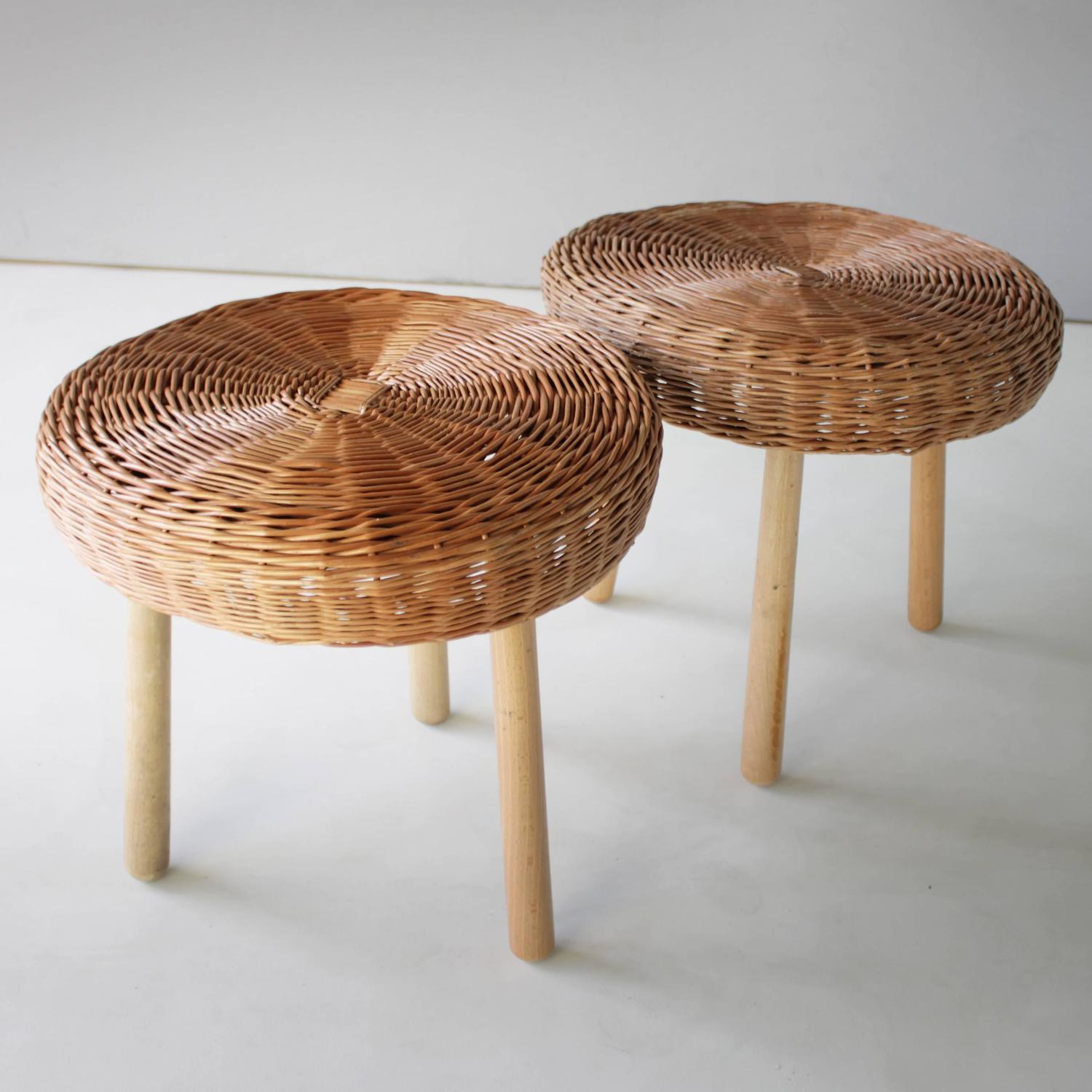 Pair Of Cane Stools In The Style Of Charlotte Perriand For