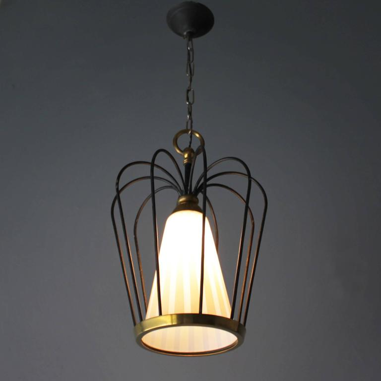 Lacquered Italian Pendant in the Style of Stilnovo For Sale