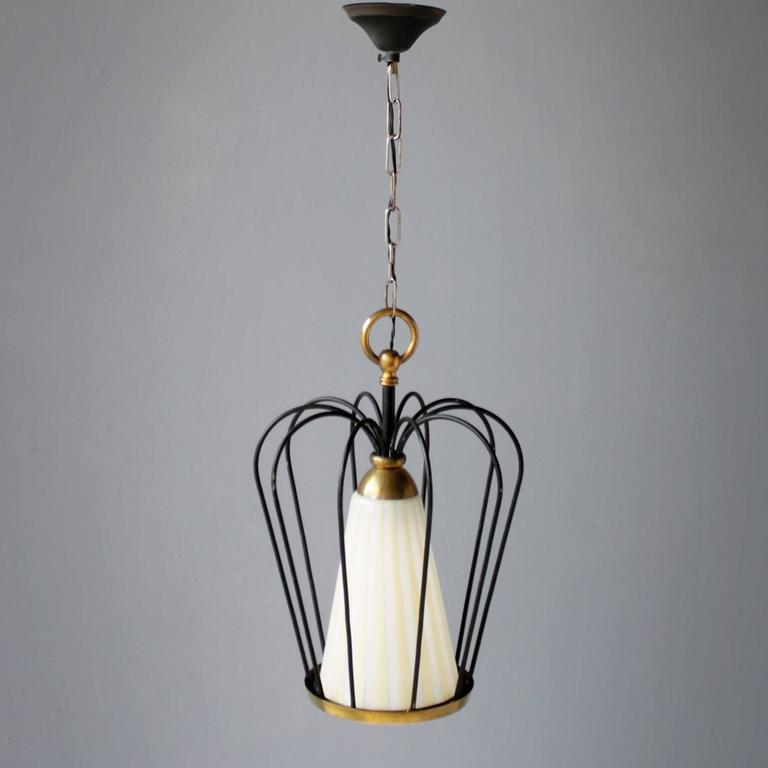 Mid-20th Century Italian Pendant in the Style of Stilnovo For Sale