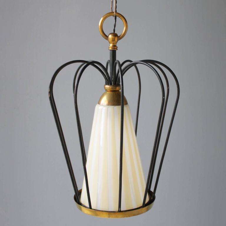 Brass Italian Pendant in the Style of Stilnovo For Sale