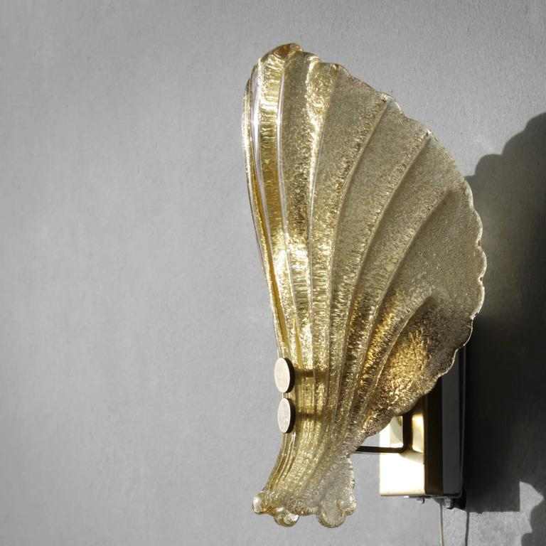 Small Gold Wall Sconces : Gold Fleck Sconce in the Manner of Barovier e Toso For Sale at 1stdibs