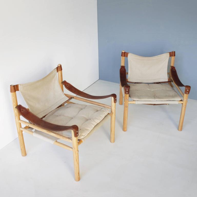 A Pair Of U0027Sciroccou0027 Safari Chairs By Arne Norell With Ash Frame Mounted  With