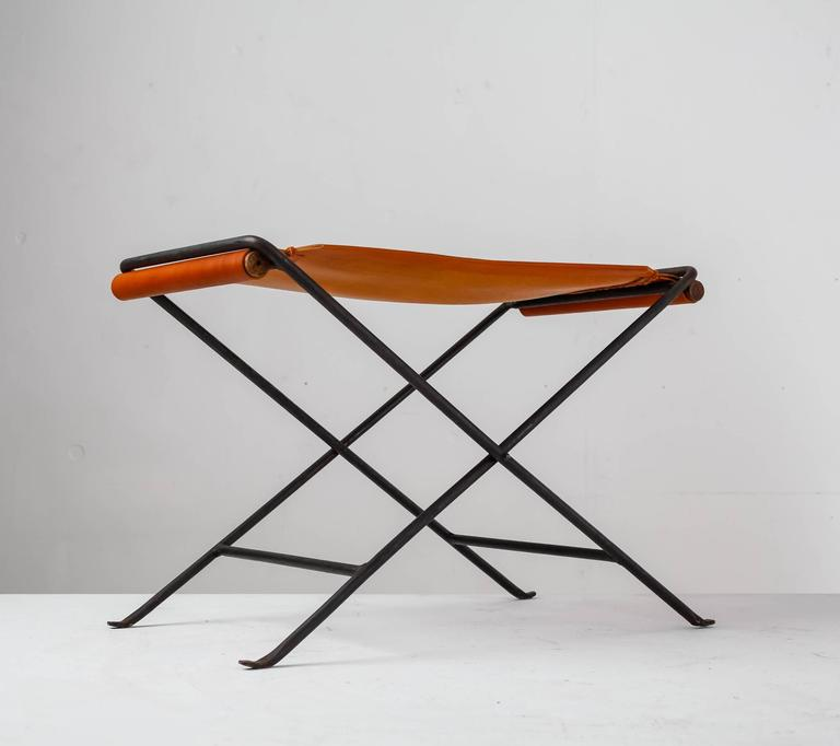 Leather And Iron Folding Stool In The Style Of Cleo Baldon