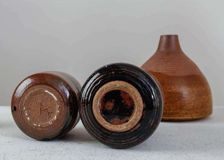 Mid-20th Century Franco Agnese Set of Six Brown to Black Ceramic Vases, France, 1960s For Sale