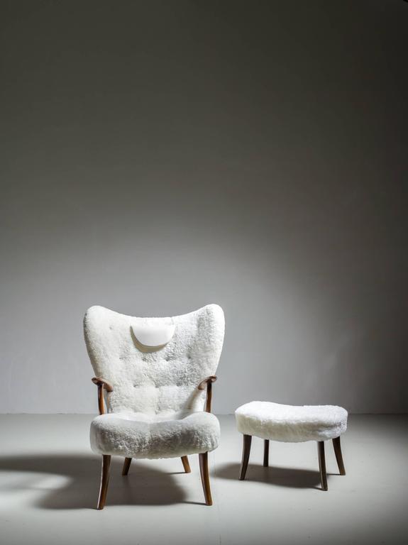 Scandinavian Modern Madsen and Schübel 'Pragh' Lounge Chair with Ottoman, Denmark, 1950s For Sale