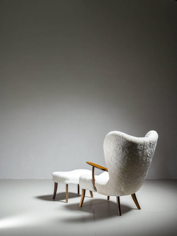 Danish Madsen and Schübel 'Pragh' Lounge Chair with Ottoman, Denmark, 1950s For Sale