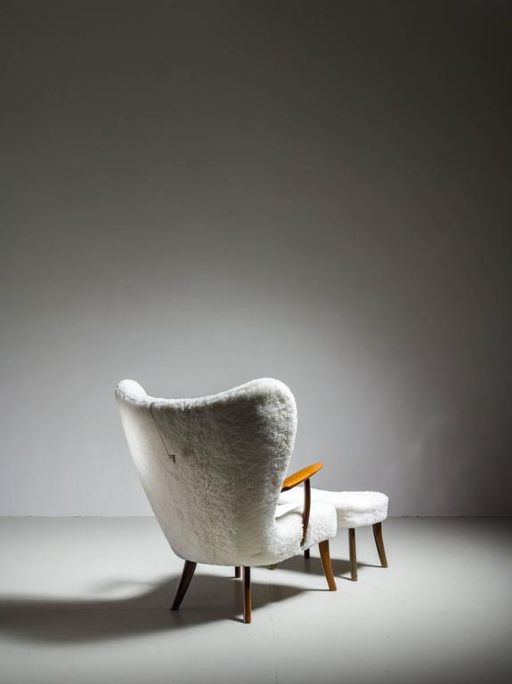 Madsen and Schübel 'Pragh' Lounge Chair with Ottoman, Denmark, 1950s In Excellent Condition For Sale In Amsterdam, NL