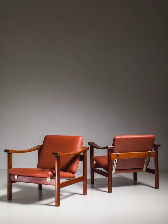Scandinavian Modern Hans Wegner Pair of Lounge Chairs for GETAMA, Denmark, 1950s For Sale