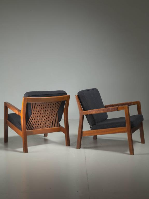 Carl Gustav Hiort af Ornäs Pair Oak and Leather Armchairs, Finland, 1950s 2