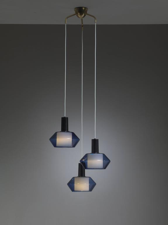 Mid-Century Modern Blue K2-140 Pendants by Tapio Wirkkala for Iittala, Finland, Large Quantity For Sale