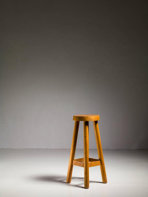 Charlotte Perriand Rare High Pine Bar Stool From Hotel Le