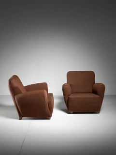 Pair of Danish Lounge Chairs with Brown Upholstery, 1940s