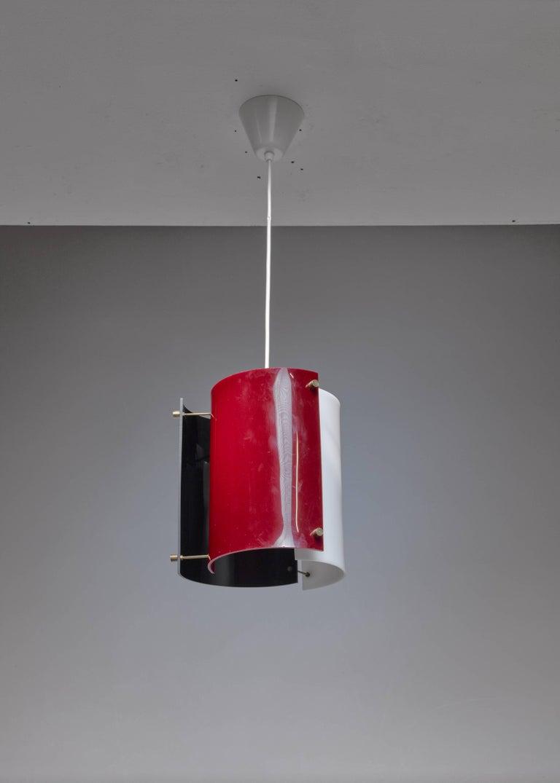 Scandinavian Modern Yki Nummi Plexiglass Pendant Lamp for Orno, Finland, 1960s For Sale