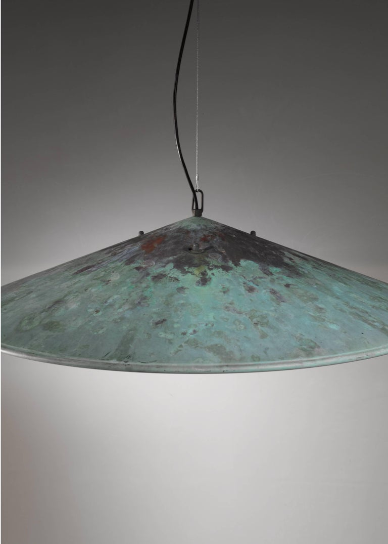 Danish Extra Large Henning Larsen 1 of 2 Copper Pendants, Denmark, 1960s For Sale