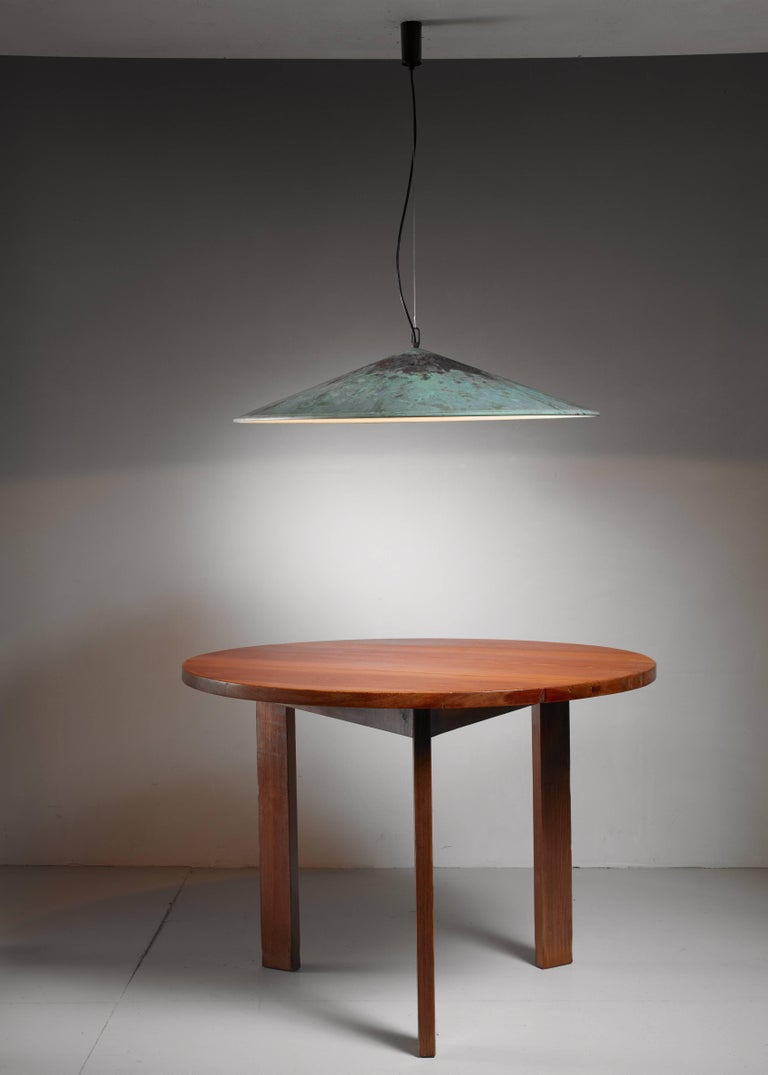 Patinated Extra Large Henning Larsen 1 of 2 Copper Pendants, Denmark, 1960s For Sale