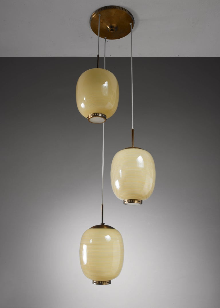 Scandinavian Modern Rare Bent Karlby Striped Glass Chandelier, Denmark, 1950s For Sale
