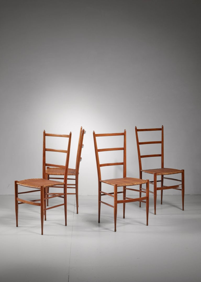 Mid-Century Modern Set of Four Chiavari Chairs, Italy, 1950s For Sale