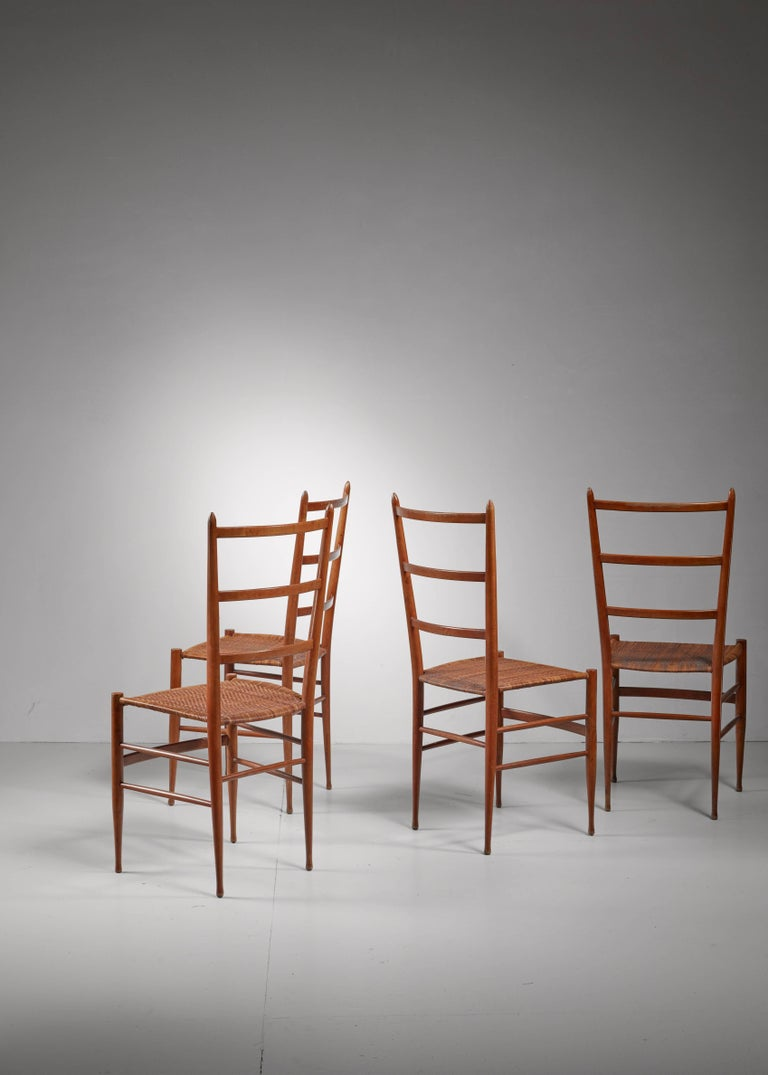 Italian Set of Four Chiavari Chairs, Italy, 1950s For Sale