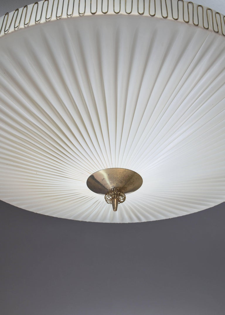 Finnish Large Round Pleated Flush Mount with Brass Centrepart by Idman, Finland, 1950s For Sale
