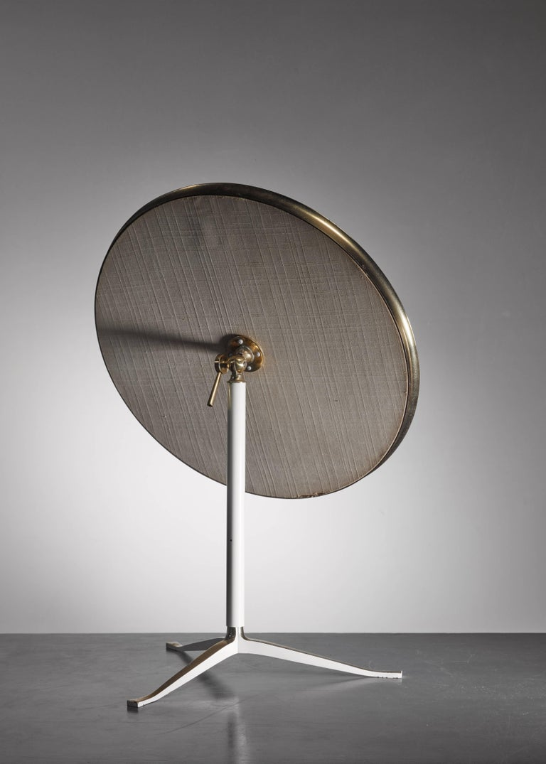 Mid-Century Modern Round Brass and White Console or Vanity Mirror, Germany, 1950s For Sale