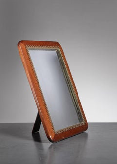 Josef Frank Mahogany and Brass Table or Wall Mirror, Sweden, 1950s