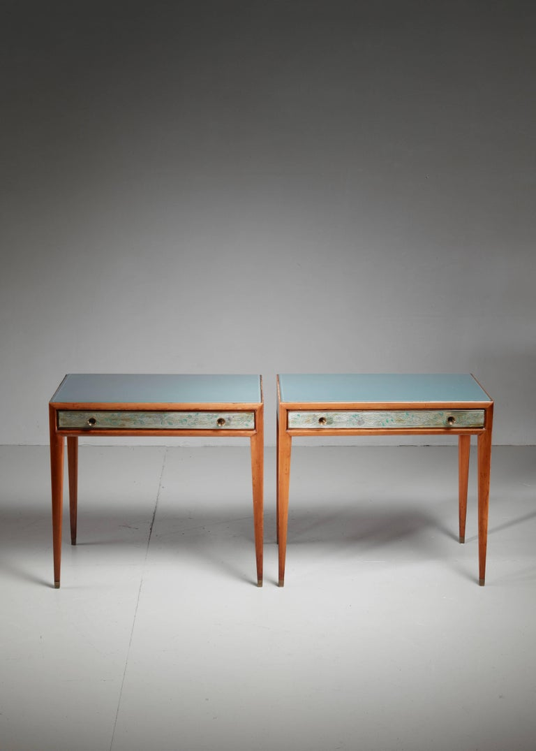 Italian Osvaldo Borsani Unique Pair of End Tables, Italy, 1930s For Sale