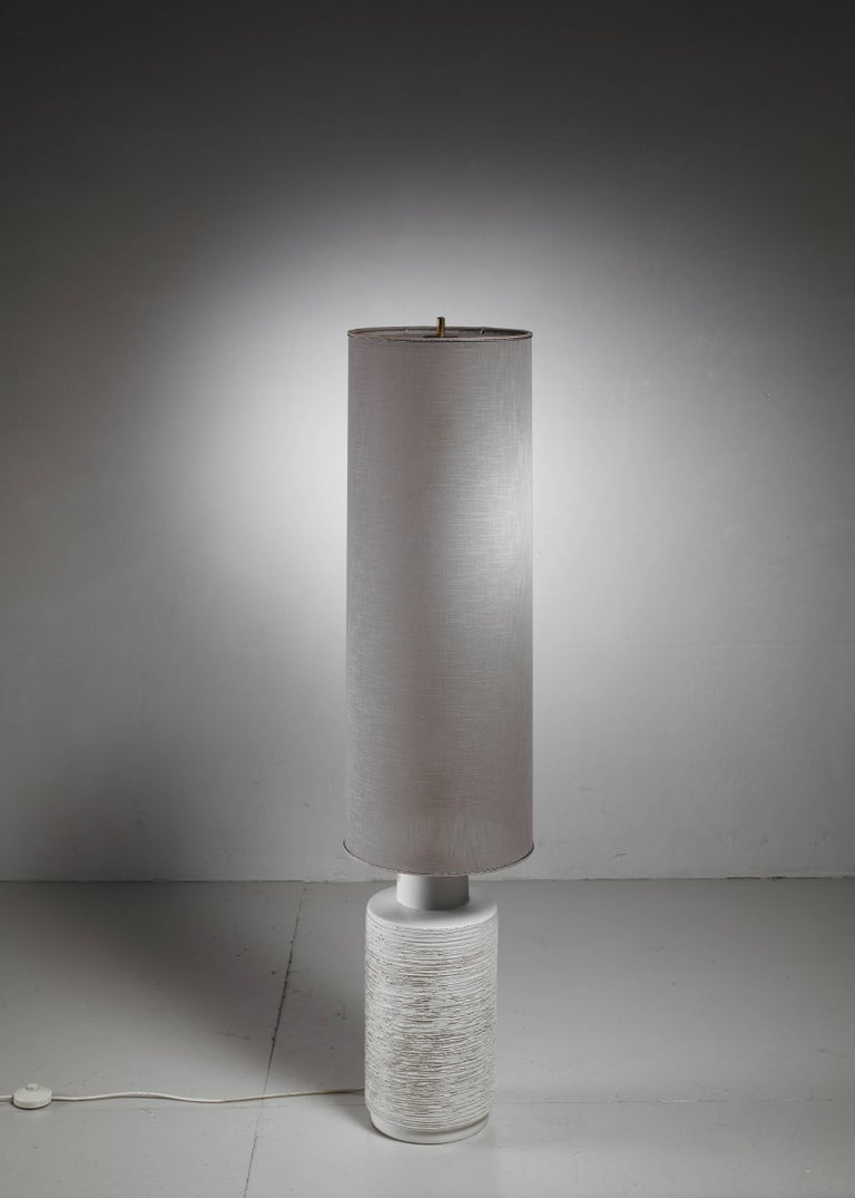 Off-White Ceramic Floor Lamp with Large Cylindric Shade, 1960s 2