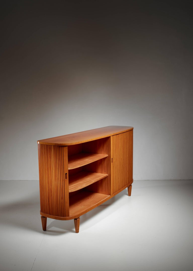 Swedish Elm Sideboard with Tambour Doors, 1940s In Excellent Condition For Sale In Maastricht, NL