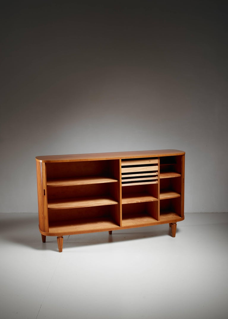 Mid-20th Century Swedish Elm Sideboard with Tambour Doors, 1940s For Sale