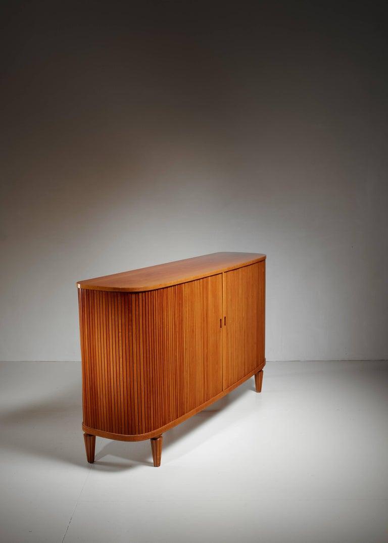 Scandinavian Modern Swedish Elm Sideboard with Tambour Doors, 1940s For Sale