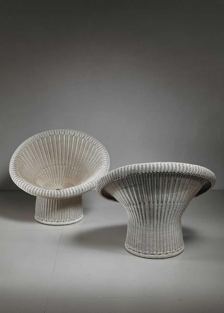 Mid-20th Century Egon Eiermann Pair of E10 Wicker Chairs, Germany For Sale