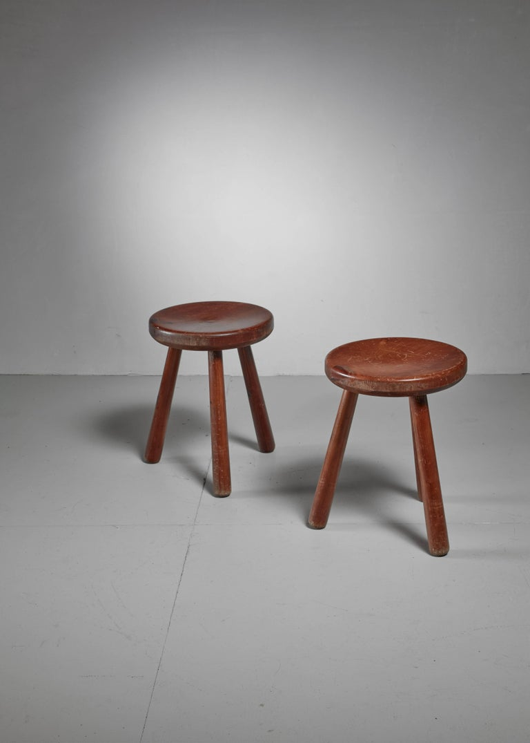 Mid-Century Modern Pair of French Campagne Style Tripod Stools, 1950s For Sale