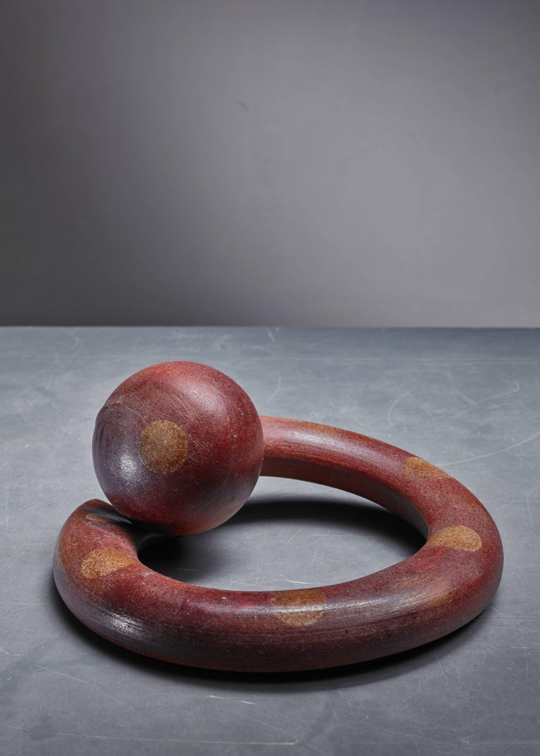 A ceramic, sculptural piece by Franco Agnese.  These pieces are purchased directly from the Agnese studio and are in a perfect, never used condition.