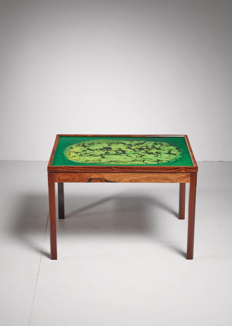 Swedish Wood Coffee Table with Colored Glass Top, Sweden For Sale