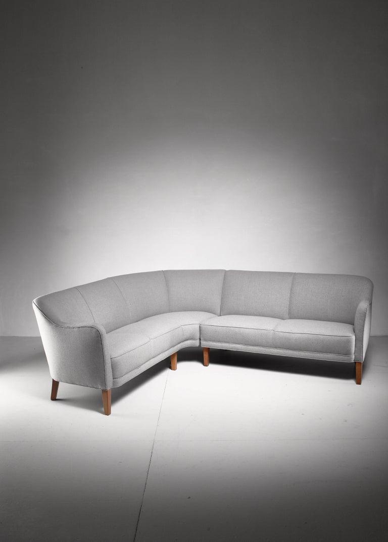 Scandinavian Modern Large Corner Sofa, Denmark, 1940s For Sale