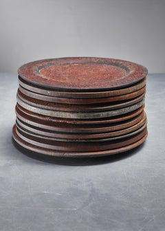 Set of Eleven Wooden Folk Art Dinner Plates, Sweden, 19th Century