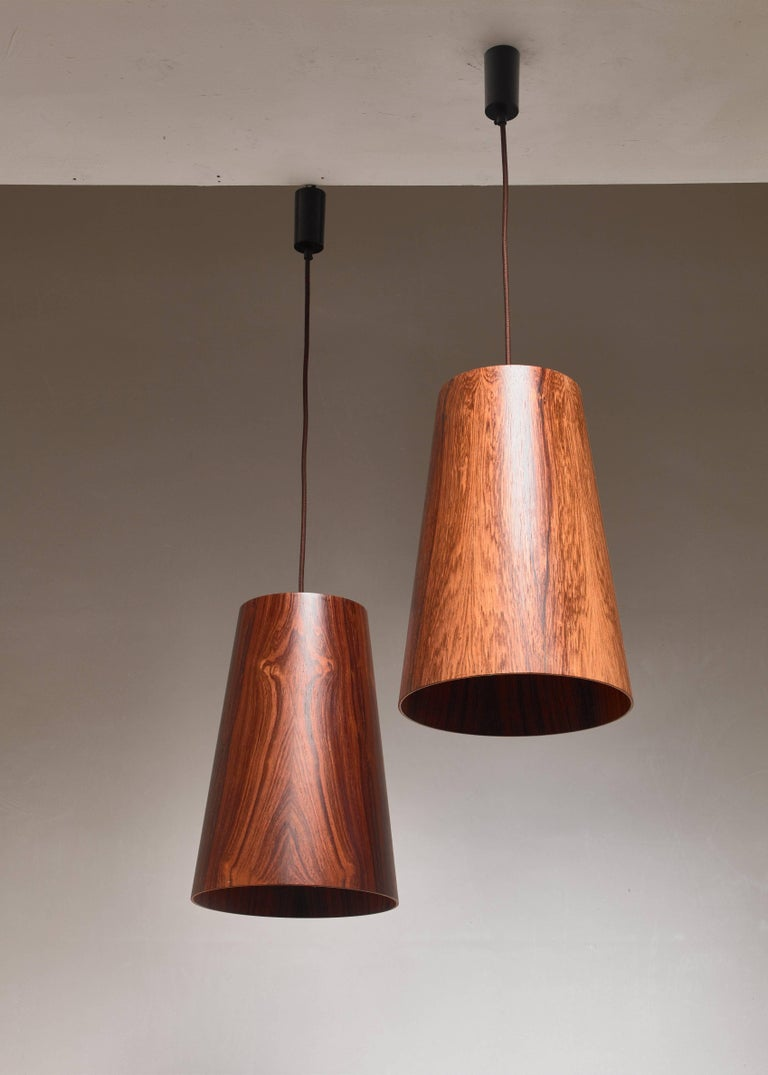 Scandinavian Modern Pair of Large Wooden Cone Pendants by Osten & Uno Kristiansson, Sweden, 1960s For Sale