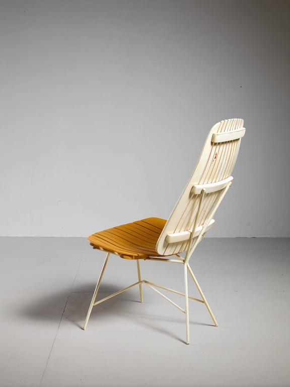Duo Tone Slat Lounge Chair By Arthur Umanoff Usa 1950s
