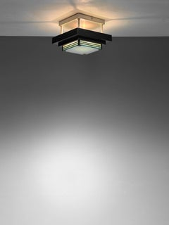 Metal and Glass Flush Mount Ceiling Lamp, France, 1950s