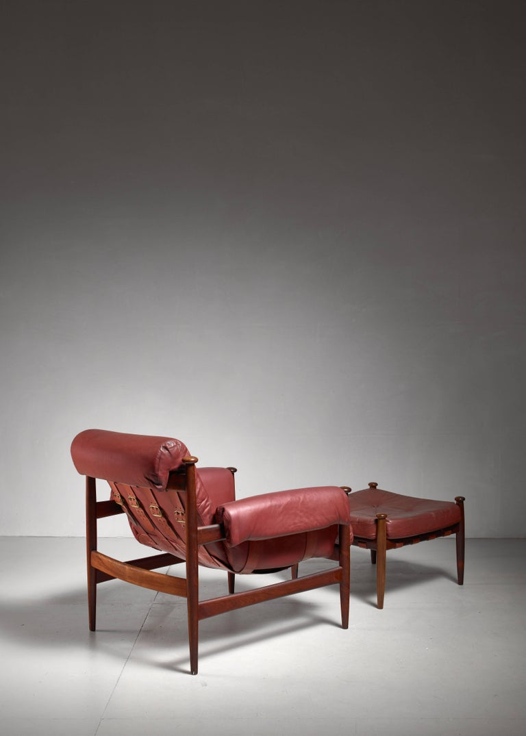 Swedish Eric Merthen Lounge Chair with Ottoman, Sweden, 1960s For Sale